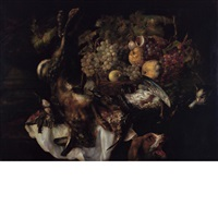 still life of fruit and felled game with a dog and cat by jan fyt