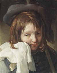 portrait of a young man, bust-length, holding a white cloth to his face, wearing a hat by michael sweerts