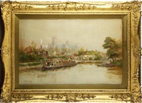 canal scene with ely cathedral by walter stuart lloyd