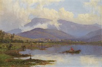 sunrise, mt wellington from shag bay, river derwent, tasmania by william charles piguenit