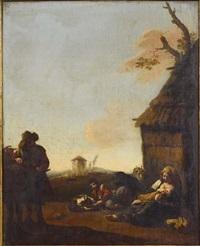 paysans près d'une chaumière by jan miel