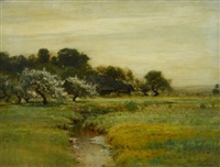 cherry blossom by a river by arthur parton