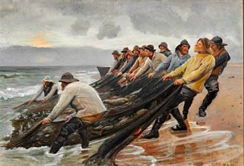 view of skagen beach with fishermen hauling in the fishing nets by michael peter ancher