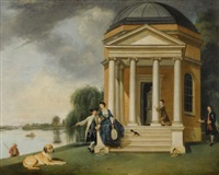 the garden at hampton house, with mr. and mrs. david garrick taking tea (+ the shakespeare temple at hampton house, with mr. and mrs. david garrick; pair) by johann joseph zoffany