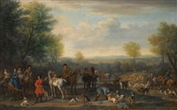 a hunting party; possibly depicting charles spencer, 3rd duke of marlborough (1706-1758) and his wife elizabeth, countess of marlborough (d.1761) by john wootton