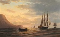 seascape with sailing ships off algier at oran by emile valentin