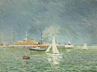 l'orage, entrée des bateaux, le havre by maxime maufra