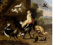 a cockerel, chickens, fledglings and other birds in a landscape by melchior de hondecoeter