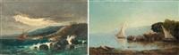 orage sur la côte (+ le retour des pêcheurs; pair) by joseph-benoit guichard