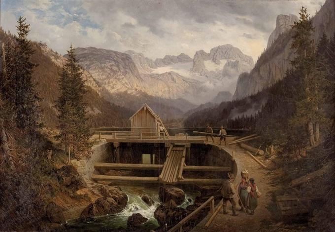 errichtung einer holzbrücke mit personenstaffage im hintergrund der dachstein by austrian school 19