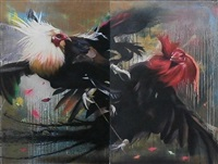 roosters white mane & red mane (diptych) by case