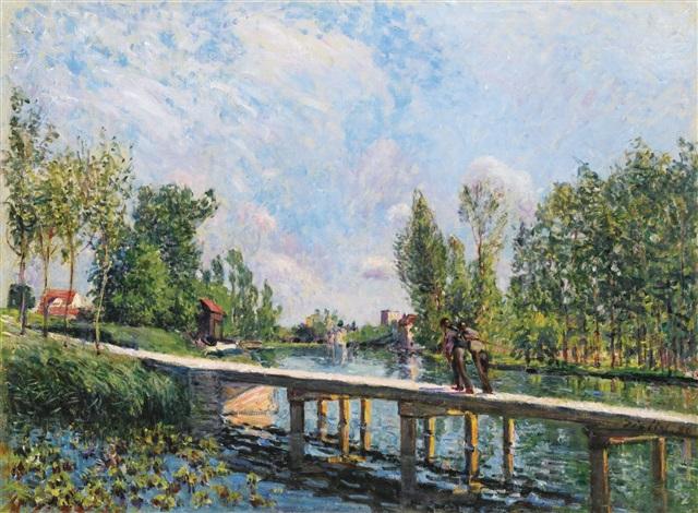 la passerelle chemin de halage du canal du loing by alfred sisley