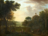 an extensive river landscape with figures and a wagon on a track by john wootton