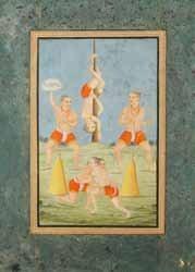 deux athlètes s'exercent à la lutte devant trois autres qui s'entraînent au tir, et font des acrobaties, dans un paysage by desakh ragini