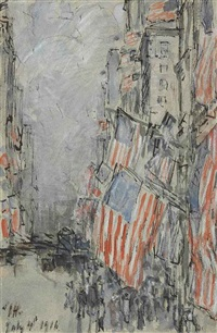 flag day, fifth avenue, july 4th by childe hassam