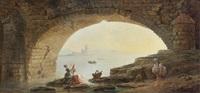 l'arche d'un pont avec des lavandières by hubert robert