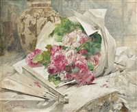 a bouquet of flowers with a vase and a fan by georges jeannin