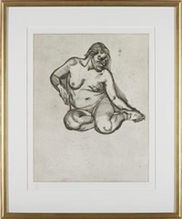 girl holding her foot by lucian freud