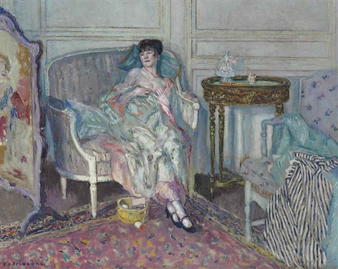in the boudoir by frederick carl frieseke