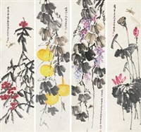 瓜果 (in 4 parts) by qi baishi