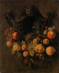 a swag of grapes, peaches, pears, apples and plums decorating a nich with a roemer by pieter van den bos