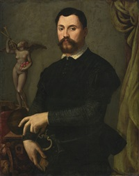 portrait of tommaso de'bardi, half length, in a black doublet and hose with a statue of fame by alessandro di cristofano allori