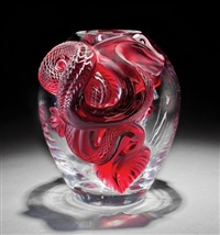 dragon ruby and clear glass vase by rené lalique