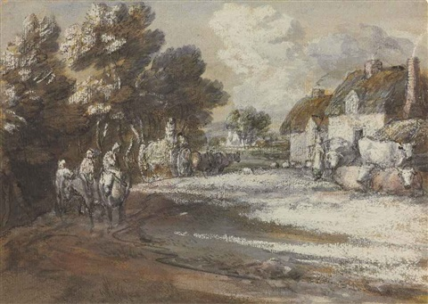 travellers passing through a village by thomas gainsborough