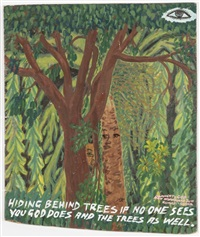hiding behind trees if no one sees you god does and the trees as well by kwame akoto