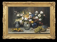 exuberant floral and fruit still life with pottery by jules cambier