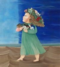 flicka med blommor i håret by monica sangberg