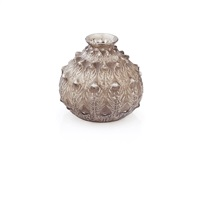 fougères frosted topaz glass vase by rené lalique