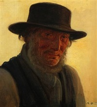 elderly man with a beard and hat by anton laurids johannes dorph
