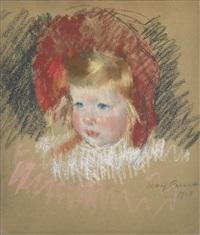 tête d'enfant au chapeau rouge by mary cassatt