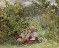 in the garden by konstantin egorovich makovsky