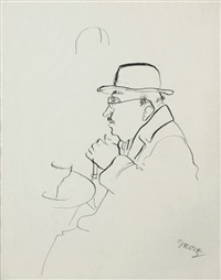 homme assis by george grosz