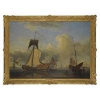 sir william courtenay's sloop-rigged yacht, the neptune, raising sail, other shipping beyond by samuel scott
