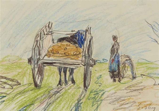 charrette et paysanne by alfred sisley
