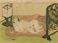 chuban yoko-e, amants en pleine étreinte allongés sur un lit by isoda koryusai