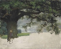 study of an oak tree by sir lawrence alma-tadema