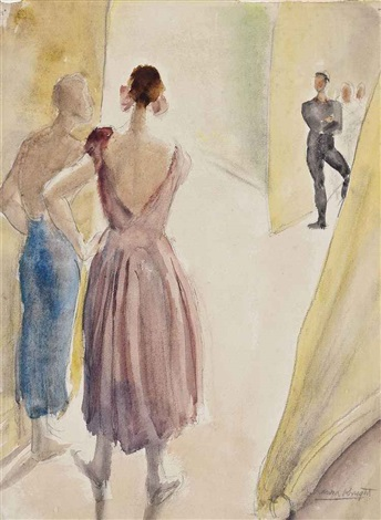 diaghilev ballet, backstage by dame laura knight