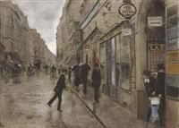 rue de richelieu sous la pluie by jean béraud