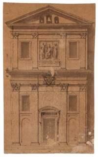 madonna and child, two saints, and the coat-of-arms of clement vii, medici (design for the façade of a small church) by perino del vaga