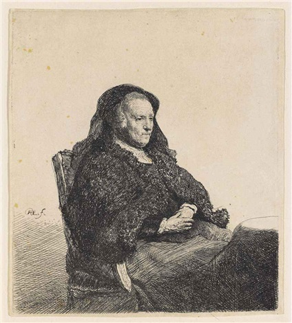 the artists mother seated at a table looking right three quarter length by rembrandt van rijn