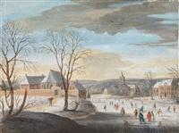 winterlandschaft mit dorf und schlittschuhläufern by daniel van heil