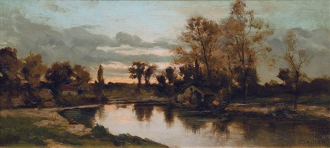 river landscape in the evening by leo van aken