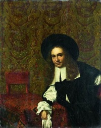 portrait de gentilhomme accoudé à une table recouverte d'un tapis by eglon hendrik van der neer