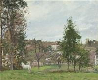 cheval blanc dans un pré, l'hermitage, pontoise by camille pissarro