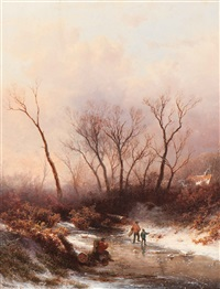 wood gatherers on the ice by pieter lodewijk francisco kluyver