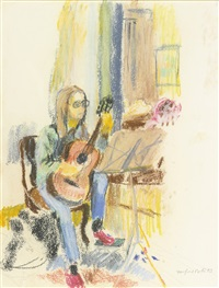 study for lizzie and guitar and great spruce head (2 works) by fairfield porter
